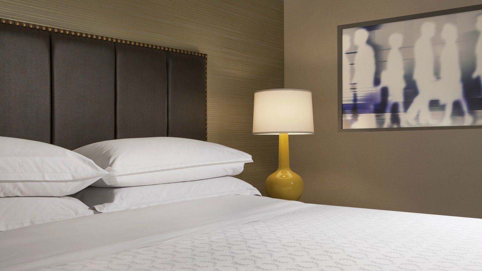 Renovated Guest Room Bed | Sheraton Silver Spring Hotel